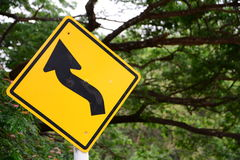 Signs curve. On the road Royalty Free Stock Photos