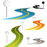 Signs with Curving Road stock illustration