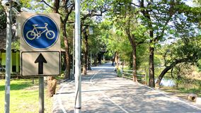 Signs for cycling inside the park. Stock Photo
