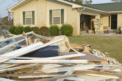 Signs and debris in front of house heavily hit by Hurricane Ivan in Pensacola Florida Stock Photos