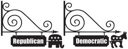 Signs for the Democratic and Republican Party Stock Image
