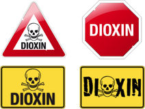 Signs dioxin. Four signs with the inscription DIOXIN Royalty Free Stock Images