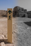 The signs in the direction of the old ruins. Black, White, Color Royalty Free Stock Image
