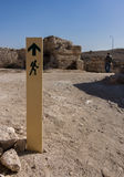 The signs in the direction of the old ruins. Black, White, Color Royalty Free Stock Photography
