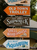 Signs. Direction sign on Mallory Square at Key West, Florida Royalty Free Stock Photography