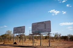 Road signs in remote outback Australia for Gibb River Road and Kalumburu Road. Signs display the road conditions for two roads in outback Western Australia royalty free stock photo