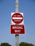 Signs do not enter and wrong way Stock Images