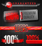 Signs and emblems of high quality labels. Set of signs and emblems of 100% high quality labels Stock Images