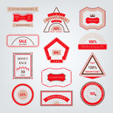 Signs, emblems and labels geometric shape for design. Quality and guaranteed - vector signs, emblems and labels for page decoration. Red and brown quality marks Stock Images