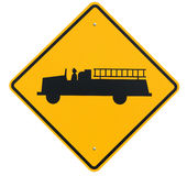 Signs: Emergency Vehicle or Fire Truck Entrance Ahead Stock Photo