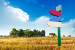 Signs on the empty wilderness. Empty wilderness, blank signs in the blue sky Stock Photography