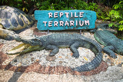 Signs entrance Reptile Exhibit. Stock Photography