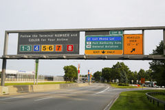 Signs at the entrance to John F. Kennedy International Airport in New York. NEW YORK - JULY 8: Signs at the entrance to John F. Kennedy International Airport in Stock Photo