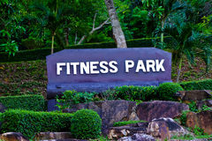 Signs exercises in park. Board exercises in the park thailand Stock Photo