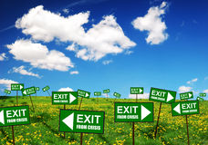 Free Signs Exit From Crisis Royalty Free Stock Image - 9483316