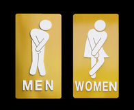 Signs female and male bathroom on black background. Stock Photography