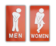 Signs female and male bathroom on white background. Stock Photography