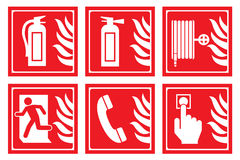 Signs for fire safety Stock Images