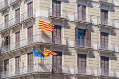 Signs and flags on Barcelona streets. Stock Photography