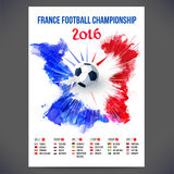 Signs Football championship 2016 on background watercolor ink. royalty free illustration