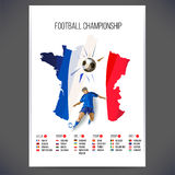 Signs Football championship with player and ball on map background Stock Photo
