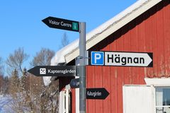 Signs in Gammelstad Church Town Stock Photos