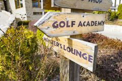 Signs at the golf course. With dof Stock Photo