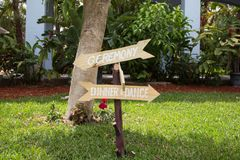 Signs for wedding ceremony and reception Royalty Free Stock Photos