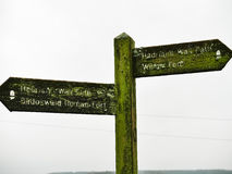 Signs at Hadrian`s Wall at Birdoswald, England Royalty Free Stock Images