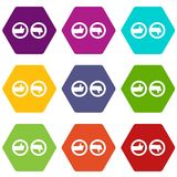 Signs hand up and down icon set color hexahedron. Signs hand up and down icon set many color hexahedron isolated on white vector illustration Royalty Free Stock Photography