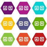Signs hand up and down in squares icon set color hexahedron. Signs hand up and down in squares icon set many color hexahedron isolated on white vector Royalty Free Stock Photography