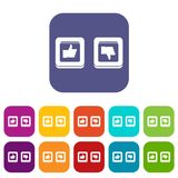 Signs hand up and down in squares icons set Royalty Free Stock Image