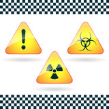 Signs-hazard, biohazard, radioactive danger. Stock Images