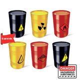 Signs of hazardous substances. Danger. Steel barrels. Vector illustration. Stock Images