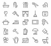 Signs, household goods, appliances, dishes, tools, grey outline, white background. Royalty Free Stock Images