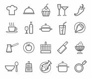 Signs, icons, kitchen, restaurant, cafe, food, drinks, utensils, contour drawing. Contour icons of kitchen utensils, food and drinks on white background royalty free illustration
