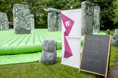 Signs at the inflatable replica of Stonehenge Stock Image