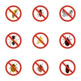 Signs of insects icons set, flat style Royalty Free Stock Photos