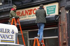 Signs for `The Irishman` Film Go Up on Lower East Side of New York Royalty Free Stock Photo