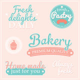 Signs labels with BAKERY text. Retro collection of signs labels with BAKERY text and sweet pastry, pastry factory labels concept stock illustration