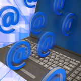 At Signs Leaving Laptop Shows Online Mailing Stock Image