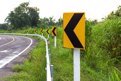 Signs left turn ahead. Royalty Free Stock Photos