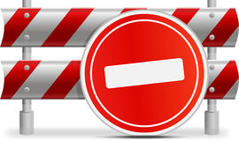 Signs limiting the movement. Sign - journey is forbidden established near the steel limiting barrier Royalty Free Stock Photography