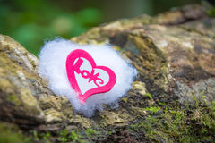 Signs of Love. A red decorative heart on batting in nature Royalty Free Stock Photos