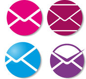 Signs with mails. Four options of signs with mails Royalty Free Stock Photography