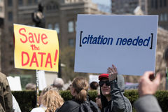 Signs at the March for Science in Toronto, Canada Royalty Free Stock Images