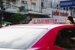 Signs metered taxi in bangkok , thailand Stock Photography