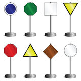 Signs mounted on post. Collection of signs mounted on post with stand Stock Photos