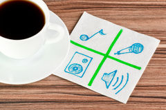 Signs of music on a napkin Stock Photography