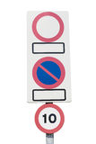 Signs No parking, no entry, speed limit Stock Photo